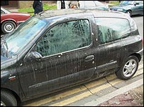 Oona King's car after being covered in eggs