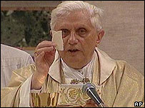 Pope Benedict XVI says Mass at the Vatican