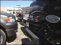 Ford trucks on a dealer's forecourt