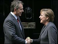 Tony Blair welcomes German Chancellor Angela Merkel to Downing Street
