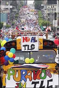 Marcha en contra el CAFTA
