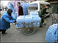 Bottled water is distributed in Harbin, China