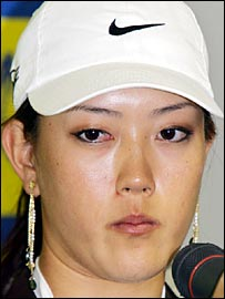 A tearful Michelle Wie following her second-round exit