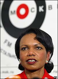 Condoleezza Rice in the Ekho Moskvy studio