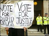 Supporters of Babar Ahmad protest outside Bow Street Magistrates' Court