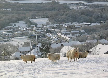 Snow covering the Gwendraeth Valley, South Wales