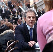 Tony Blair talks to shoppers in Leeds