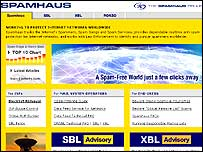 Screengrab of Spamhaus website