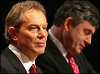 Tony Blair and Gordon Brown at Labour's manifesto launch