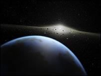 Concept view of asteroid belt viewed from alien world (Nasa/JPL/Spitzer)