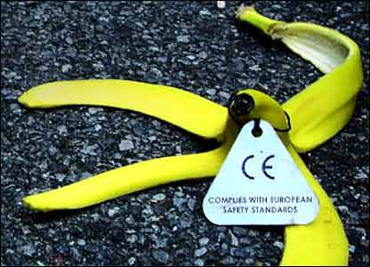 Banana skin, labelled Complies with European safety standards