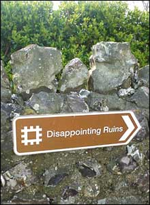 National Trust style sign, Disappointing ruin