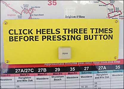 Click heels three times before pressing button