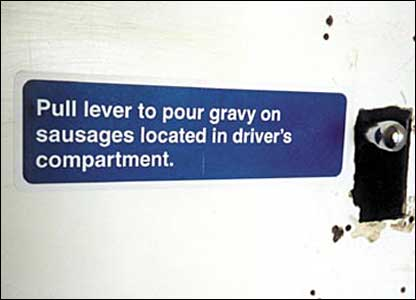 Pull lever to pour gravy on sausages located in driver's compartment