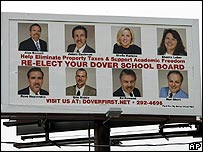 A billboard showing the current Dover Area School Board who were seeking re-election. All eight lost their seats.