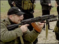 Ramzan Kadyrov at a firing range