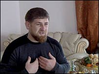 Ramzan Kadyrov in his house