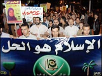 """Muslim Brotherhood supporters with a banner reading: """"Islam is the solution"""""""