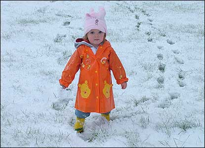 Girl in snow on birthday