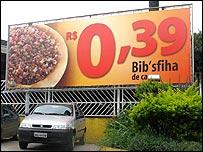 Poster outside Habib's restaurant on Avenida Interlagos, Sao Paulo