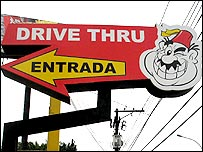 Drive-thru sign from Habib's outlet on Avenida Interlagos, Sao Paulo