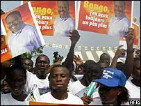 Supporters of President Bongo