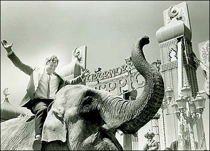 An elephant used to publicise a new ride in 1984