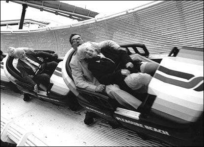 Mrs Thompson and the Bishop of Blackburn on a ride in 1989