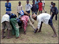 Children in Madagascar play rugby