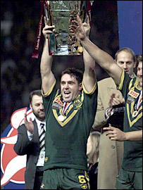 Australia captain Brad Fittler celebrates after his side win the 2000 World Cup