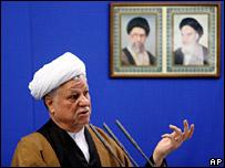 Iran's former president, Akbar Hashemi Rafsanjani, speaks during Friday prayers ceremony in Tehran