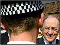 Conservative leader Michael Howard meeting a police officer