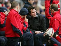BBC rugby commentator Martin Bayfield with the England squad
