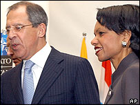 Russian Foreign Minister Sergei Lavrov and US Secretary of State Condoleezza Rice
