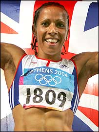 Kelly Holmes celebrates her Olympic success
