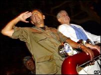 Ex presidente Lucio Guti�rrez (izq) y el actual presidente Alfredo Palacio
