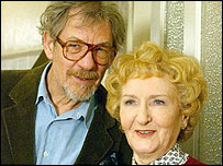 Sir Ian McKellen as Coronation Street's Mel Hutchwright with Emily Bishop (Eileen Derbyshire)