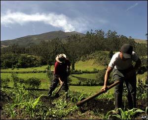 Campesinos trabajando cerca del volcán