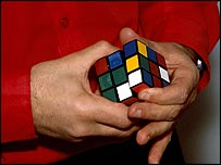 Someone doing Rubik's cube in 1982