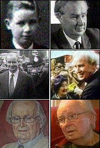 Six images of Gwynfor Evans - as a boy growing up in Barry, elected to Westminster in 1966 and again in 1974, a painting of him and at home in 2003