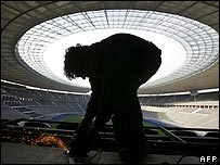 Metal worker at Berlin's Olympic Stadium