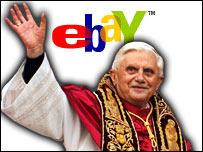 Benedicto XVI y el logotipo de eBay.