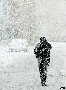 A man walks through Mungia, in the Basque region
