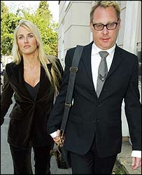 Vic Reeves and wife Nancy Sorrell outside Maidstone Magistrates' Court