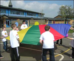 Children playing with parachute game