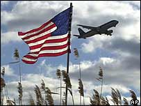 Plane flying above an American flag