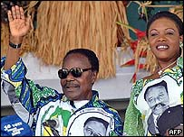 President Omar Bongo of Gabon with his wife on the campaign trail