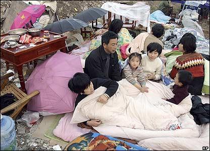 Ruichang residents at a camp.