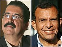 Presidential candidates Manuel Zelaya (l) and Porfirio Lobo