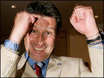 Lord Coe celebrates winning the 2012 Olympics for London